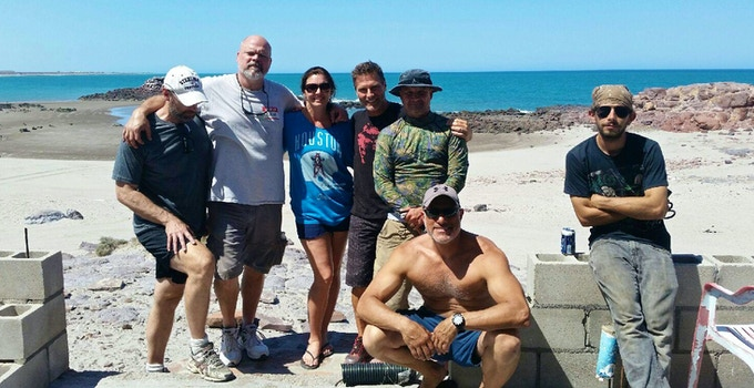 The crew on location in Baja.