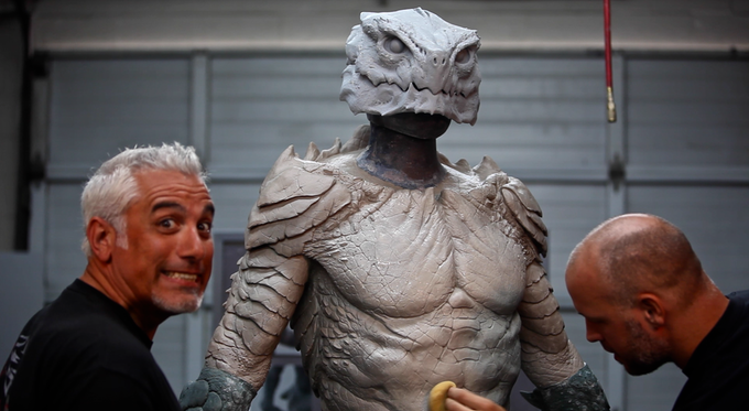 Patrick Magee with Sandy: sculpting the suit.