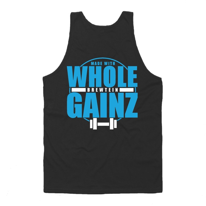 "Show off your muscle with this graphic tank and support Team Brewtein. Yes, it really does say ""Made with Whole Gainz."" Available in sizes small through 3XL."