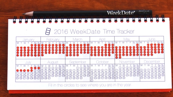 Introducing the WeekDate Time Tracker.  Fill in the circles to see where you are in the year!
