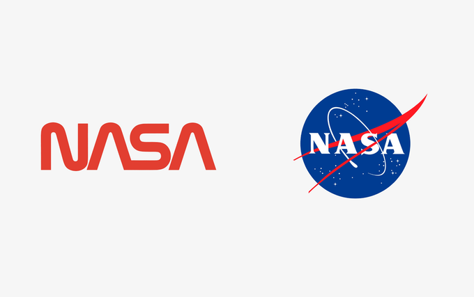 """The """"Worm"""" (left) and """"Meatball"""" (right) logos."""
