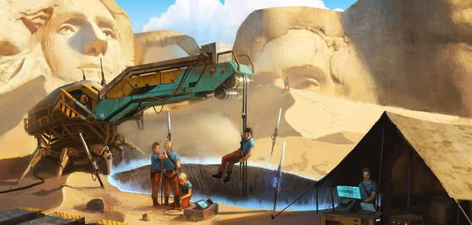 Concept art: Stabilising an entry point and using the Spider at Mount Rushmore, South Dakota.