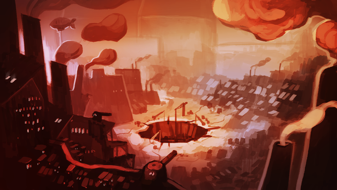 The City of Keys. Dominated by an enigmatic Governor and a looming Factory only tenuously connected to reality. Art by Catherine Unger.