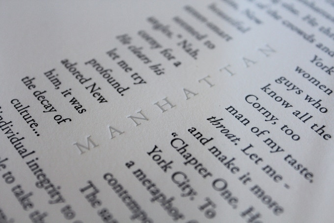 Craig's last printed edition, the introductory sentences from Woody Allen's 'Manhattan'.