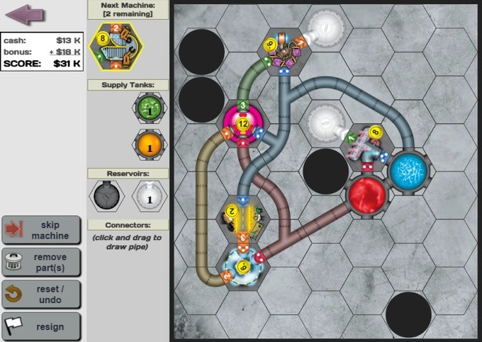 """In the solo-game, with only 1 machine to """"choose"""" each round, you often need more connector pipelines than in the multiplayer boardgame."""