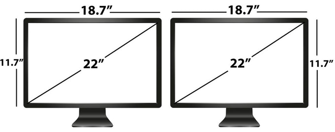"*Note - to support two 22"" monitors it is recommended that you slightly angle your monitors inward."