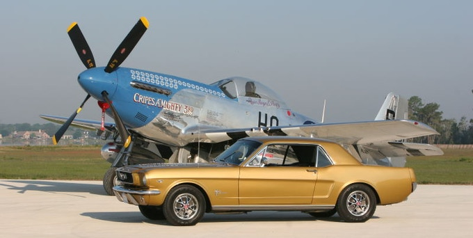 66' 'Ford Mustang' and World War II 'P-51 Mustang' fighter plane