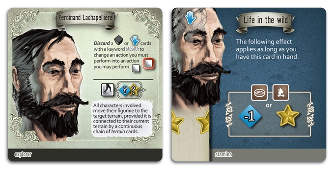 Ferdinand: a French explorer you can play and one of his special Idea cards.