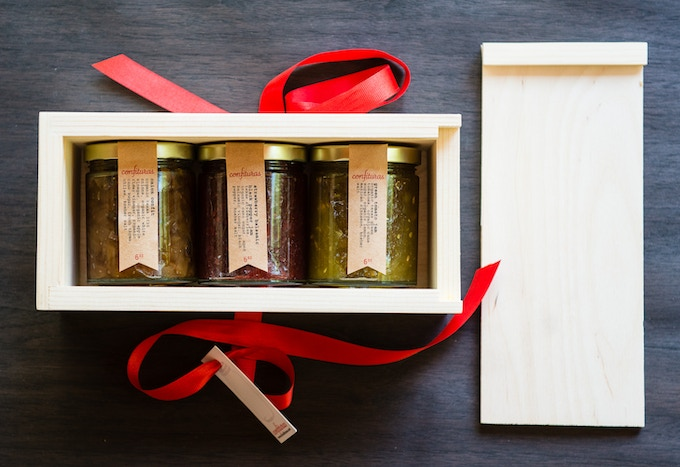 exclusive kickstarter jam box including tipsy figs, peaches in lavender syrup, and santa rosa plum preseves!