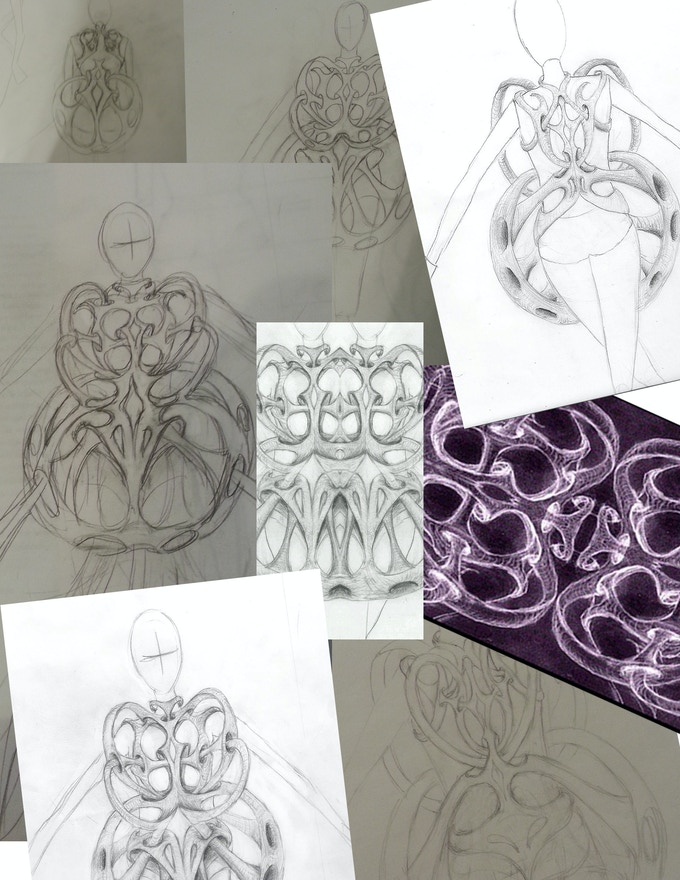 hand drawn and digital sketches done during initial design stage.