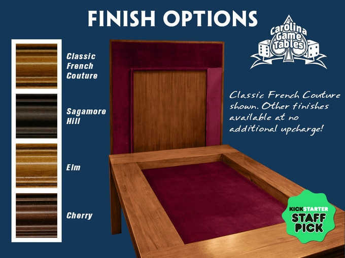 You will be contacted after the Kickstarter to let us know which finish you prefer for your table!