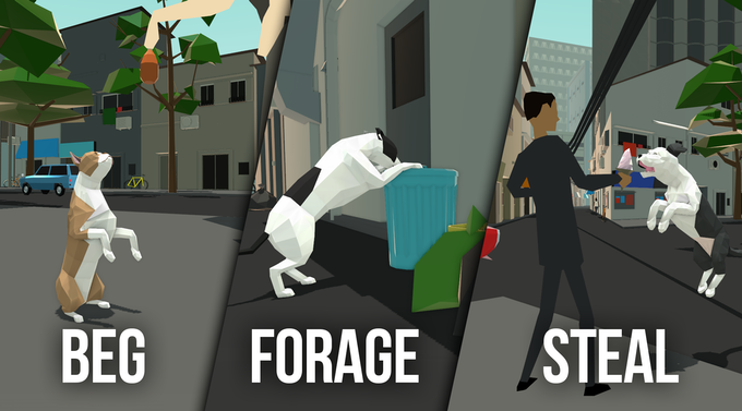 A dog is always hungry. To survive in the big city, you'll need to decide how best to satisfy your doggy hunger.