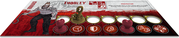 A Hero dashboard with a Tentacle token marking his Corruption Level, and a couple of Wounds.