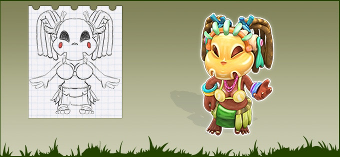 Sketch and 3D model of Native