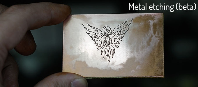 Combining chemical action after UV etching, the copper surface was etched with a vector-based image