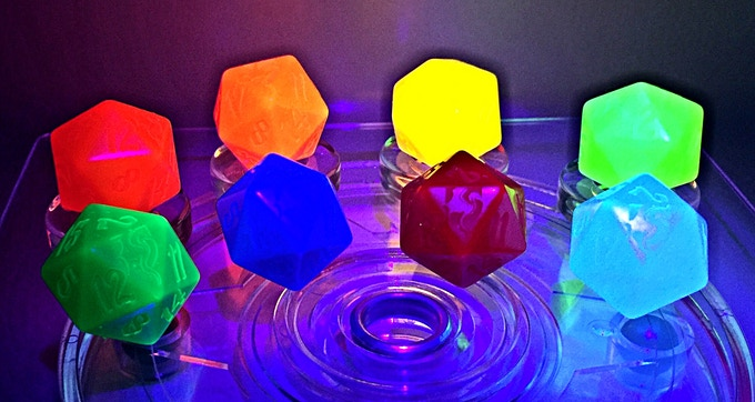 UV Reactive Dice (lights off UV on)