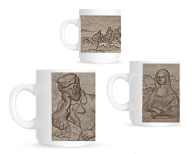 Pledge $100 or more and receive a set of 3 Unique Coffee Mugs printed with our R&D team's Original 3D Renderings of Van Gogh's Dr. Gachet, the Mona Lisa and George Washington Crossing the Delaware.