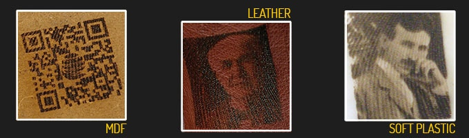 Laser engraving on different materials: a QR code etched on MDF, Edison and Tesla portrait on leather and expanded pvc sheet