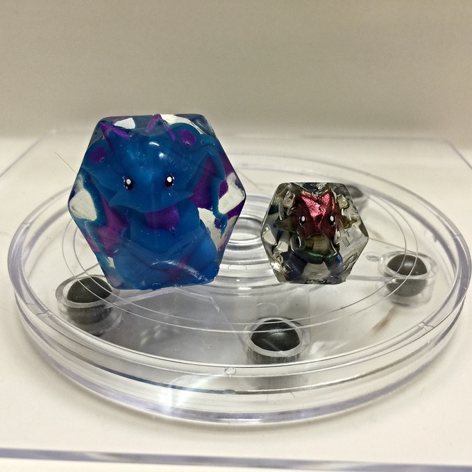 Large D20 next to standard sized