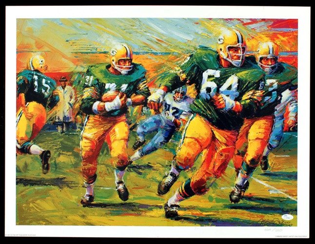 19x26 inch Packer Sweep lithograph signed by Jerry Kramer