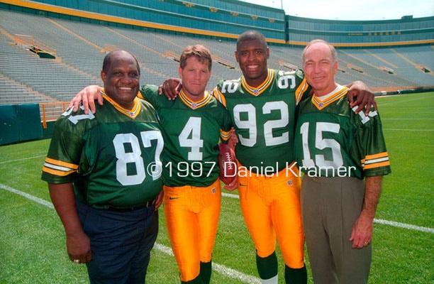 "Willie Davis, Brett Favre, Reggie White and Bart Starr also known as, ""The Foursome"""