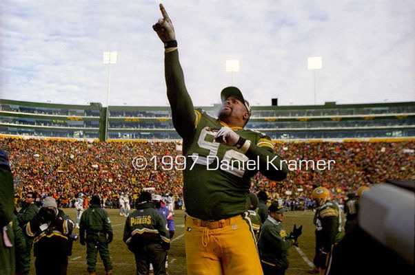 Reggie White points to the heavens after the Packers defeated the Carolina Panthers in the NFC Championship game.