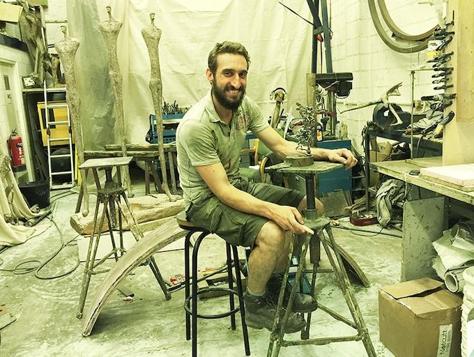 Bronze Sculptor Derek Bayley in his London studio