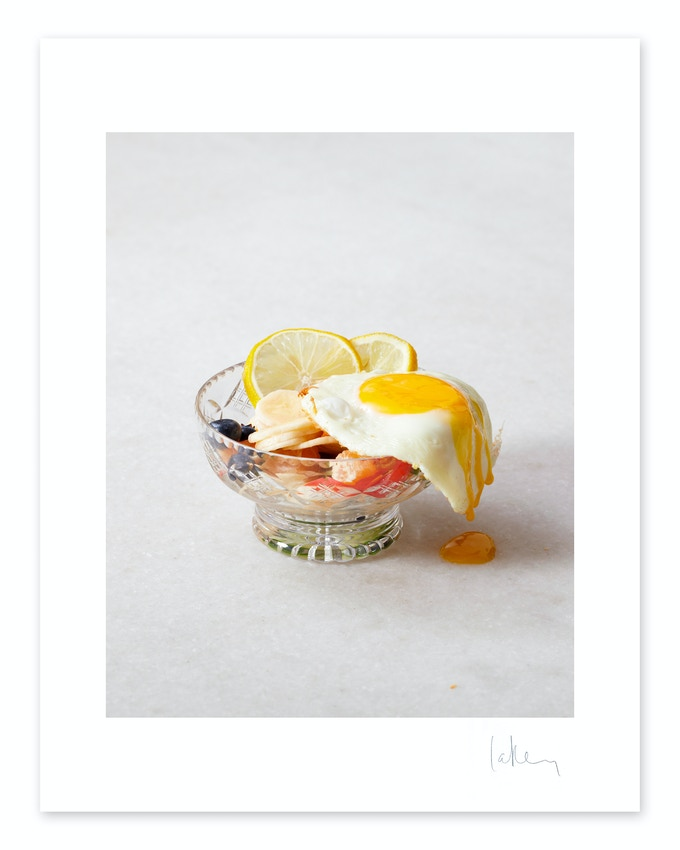 "Example of 'Fried egg fruit salad' art print (10"" x 12"")"