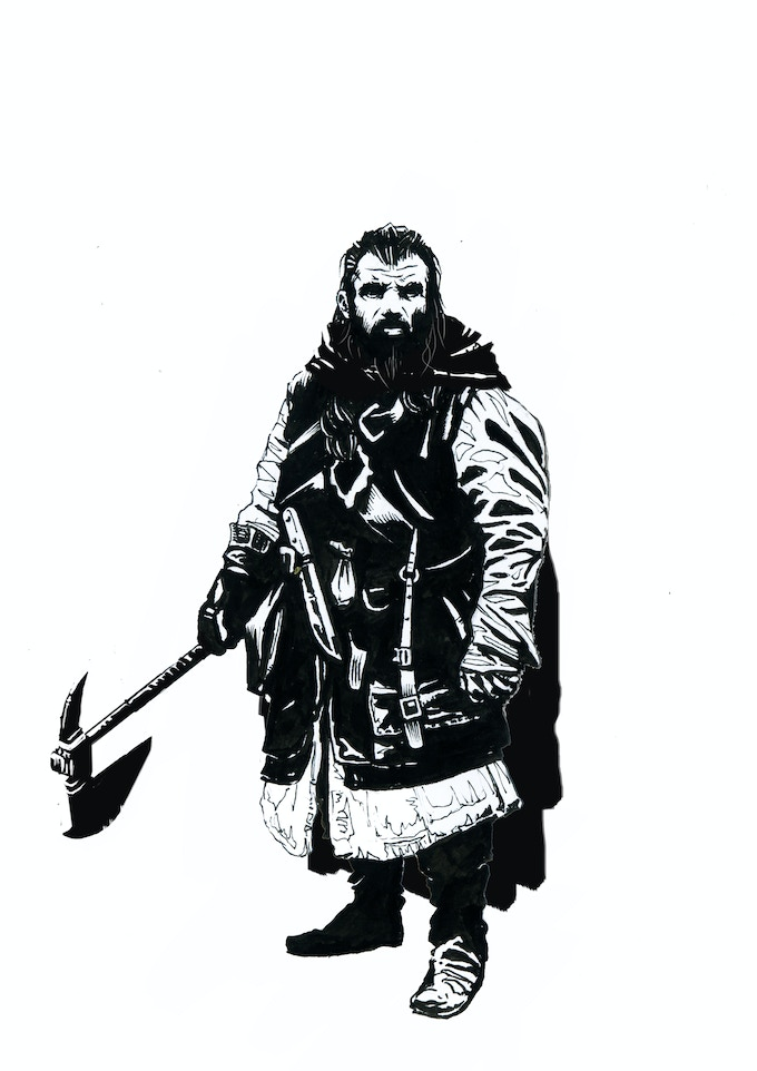 Lenan Krux, Dwarven Hunter, Qualities/Vices: At home with the forest, Reveres nature's bounty/Impatient with people.