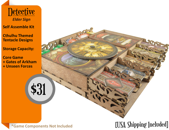 Elder sign insert features for Board game storage solutions