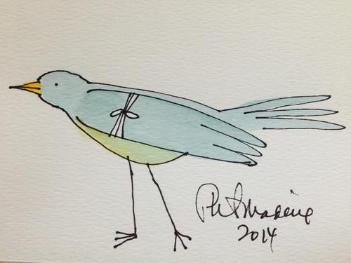 "Mercyland ""Bandaged Bird"" 4""x6"" Watercolor"
