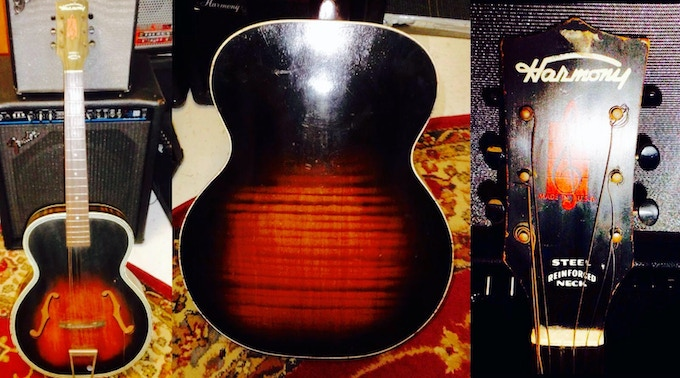 3 Vintage Harmony Archtop Guitars (including the guitar pictured here) will be painted and collaged by Phil in a Gospel Roots theme, a la Sister Rosetta, Blind Willie Johnson.