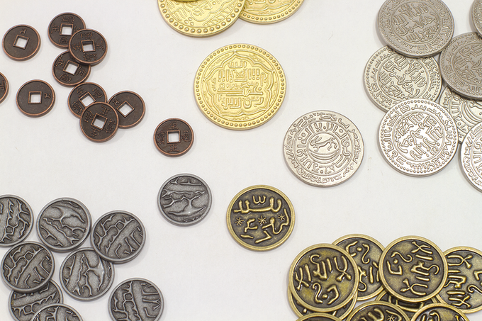 All themes (except our Pieces of Eight) include five coins in interchangeable sizes and finishes: tiny/copper, small/metal, medium/bronze, large/silver, jumbo/gold.