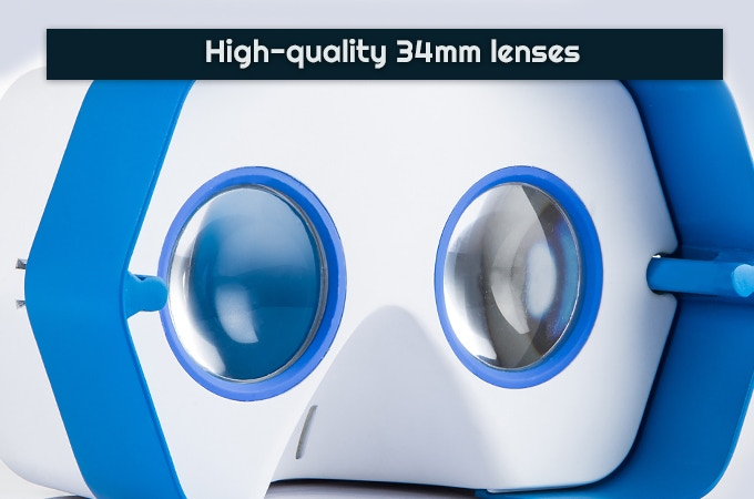 34 mm biconvex lenses provide a clear view of the action.