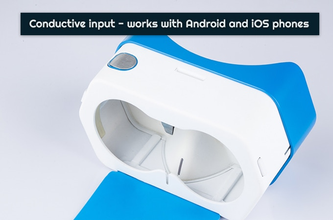 The conductive button is similar to the one in Google Cardboard V2 kits, but with upgraded materials.