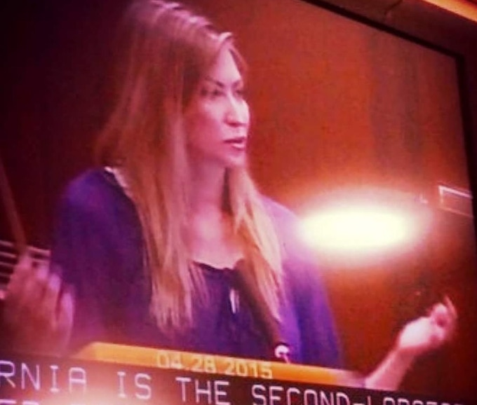 Speaking against the sale of animal parts, namely rhino horn and ivory, in California.