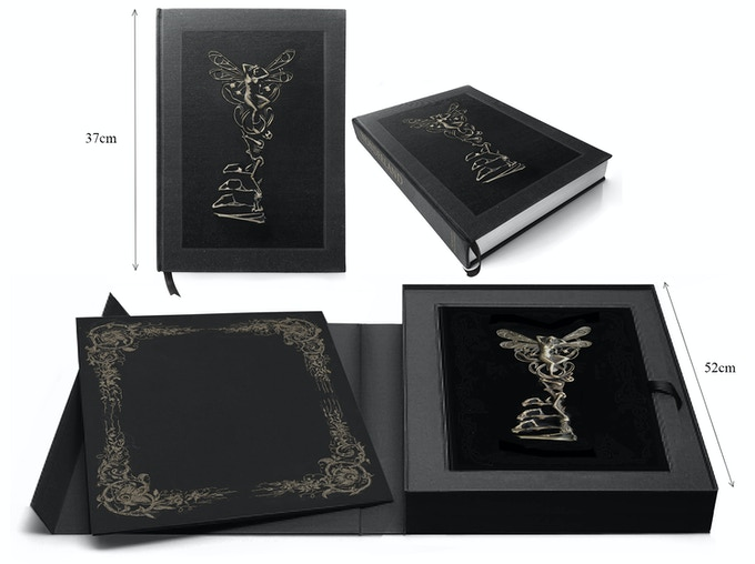 Collector's Edition Box Set - Oversized clamshell presentation box, containing solid bronze key in display tray, stacked above  book, sunk into deep surround  + Portfolio slip case with 3 Limited Edition signed prints (design mock-ups)