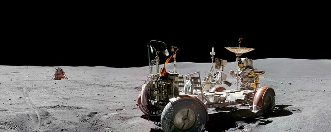 20x8 inch print of Apollo 16 Commander John Young at the lunar rover