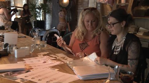 Judy (Project Founder) working with Viktorija (designer)