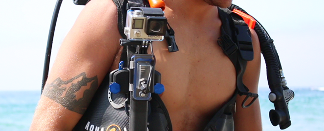 The PowerGrip H2O is always ready for quick camera access when used with the StrapMount.