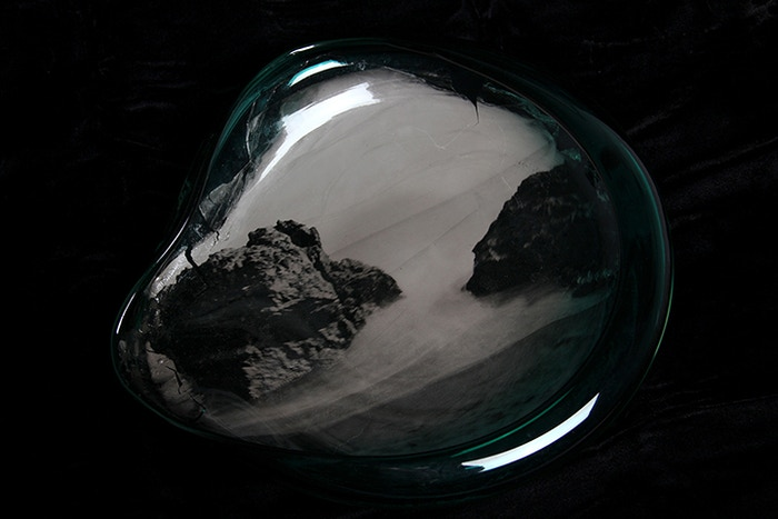 Bringing depth to traditional wet plate collodion ambrotypes by exposing directly into large format hand blown glass forms