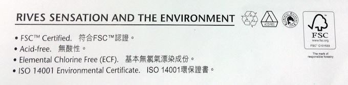 FSC certified, Acid-free, Elemental Chlorine Free paper