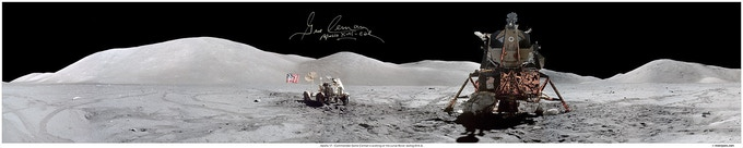 Apollo 17 Landing site hand signed by Gene Cernan