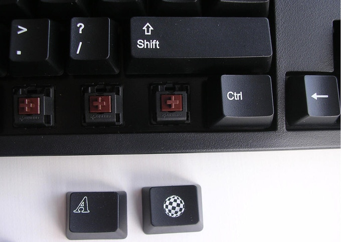 """Detail of right Amiga """"A""""  and Boing Ball on Cherry MX Brown switches"""