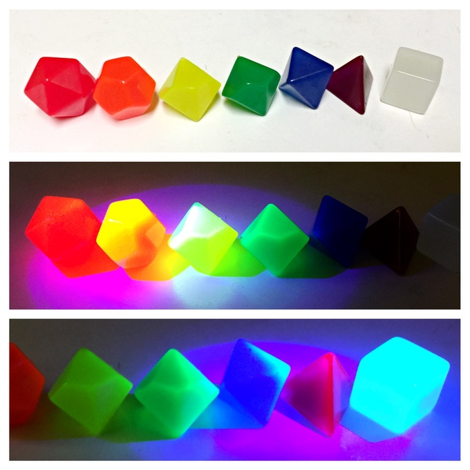 Example of a full set in a rainbow UV color set (no numbers)