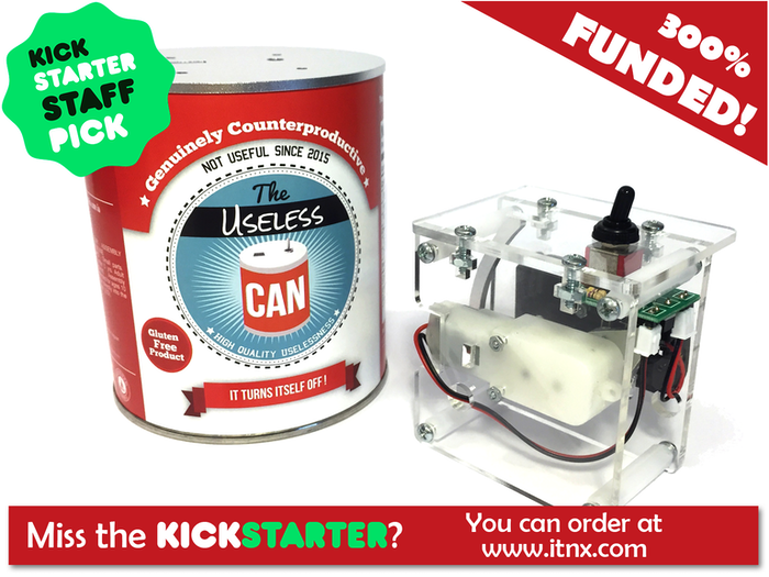 Useless Can based on the Useless Machine is a kit with 52 parts that you assemble without soldering to create a fun mechanism.