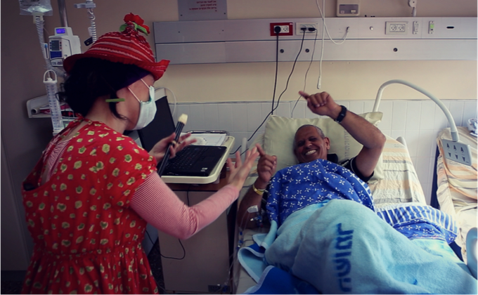 No physical contact is allowed at the bone marrow transplantation ward. Nobody said a word about dancing though.