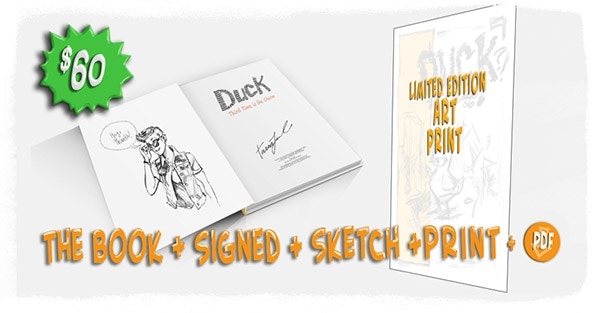The Book, a Head Sketch of your choice on the inside cover, the PDF and a Canvas Art Print (image to be announced soon!) Get 'em before they're gone!