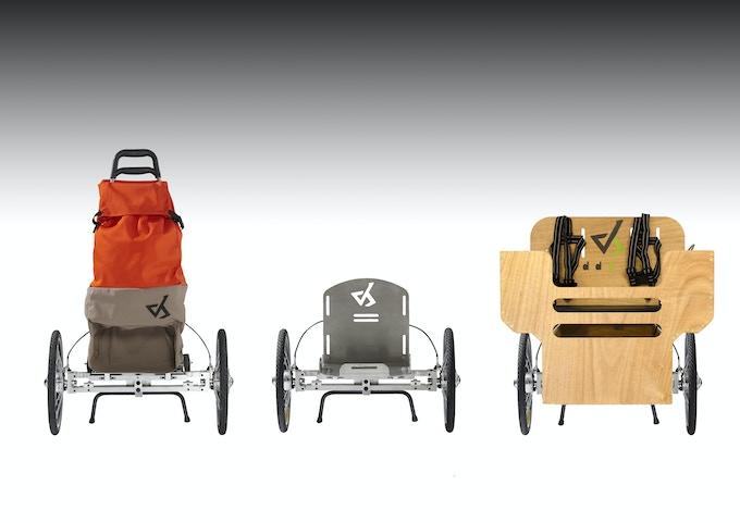 Le châssis AddBike avec successivement les modules Carry'Shop, Carry'Base et Carry'Box (nouvelle version du prototype)