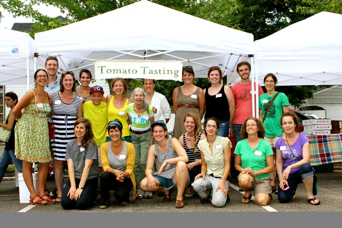 1st Annual Tomato Tasting 2014 at the Tiny Diner: Group of heirloom tomato growers who showcased their tomatoes, trained by Seed Sages & Seed Savers Exchange
